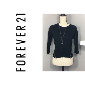 Black Crew Neck Sweater with Size Zips Forever 21